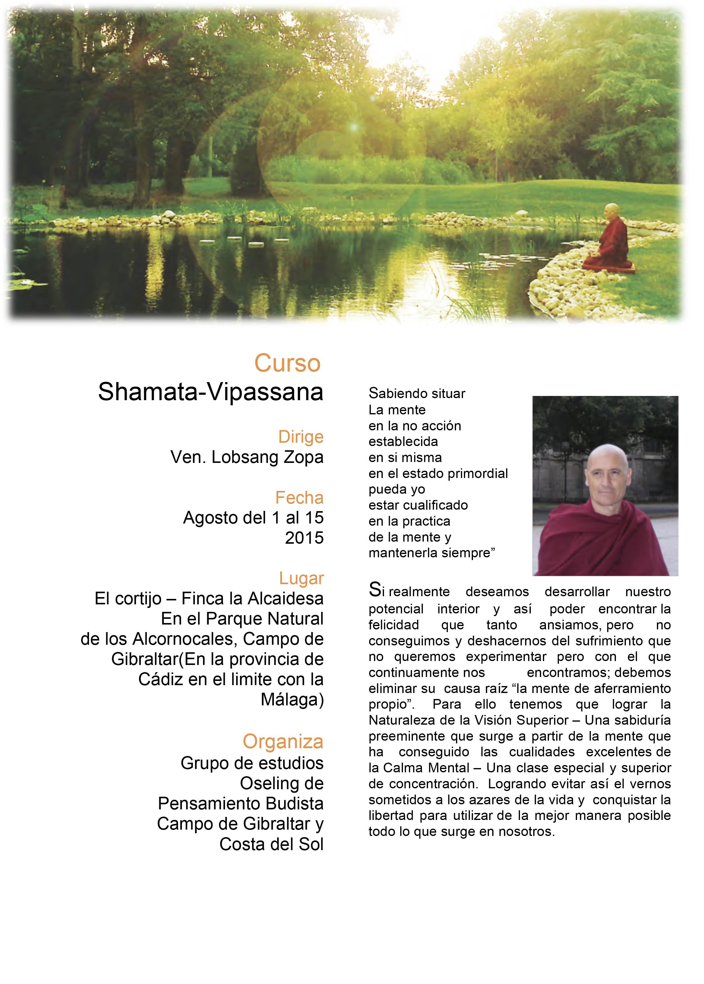 Curso Retiro de Meditación Agosto 2015