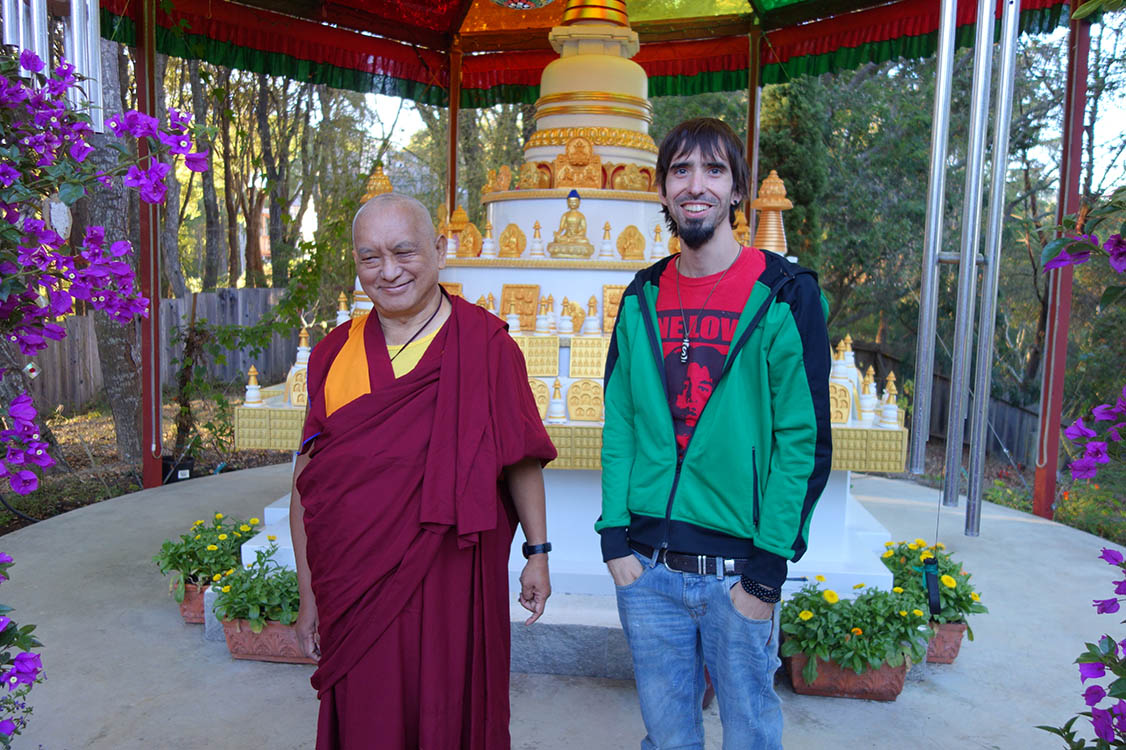Tenzin Osel Hita visiting Lama Zopa Rinpoche at his California house. October, 2013.